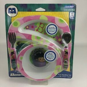 Monsters Inc Boo Plate Bowl Baby Feeding Set 4pc New in Package Toy Disney Pixar
