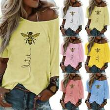 Women One Shoulder Bee Printed Tops Summer T-Shirt Casual Loose Blouse Plus Size