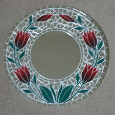 Superb Hand Crafted Mosaic Mirror Tiulips Design Red Color 40 Cm Wide