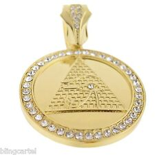 Pyramid Eye Of Horus Iced-Out RA Egypt Pendant Gold Tone 48 mm Round Medal Charm