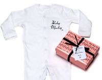 Baby girl PERSONALISED babygrow sleepsuit in GIFT BOX great baby shower gift