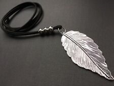 Long black Suede Necklace With A Large 70mm Statement feather Leaf Pendant Boho