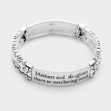 "Mother Daughter Bracelet Stretch Bangle .5""W Mom Daughter Share Bond ANTQ SILVER"