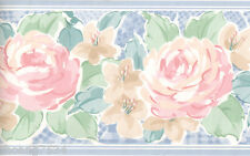 Vintage Country Blue Gingham Check Floral Pink Rose Kitchen Wall paper Border