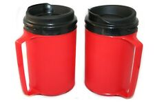 2 Foam Insulated 12oz ThermoServ Travel Mugs Red