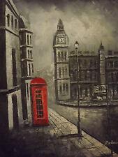 Noir Blanc Rouge London Big Ben Large Peinture à l'Huile Toile Moderne Cityscape Art