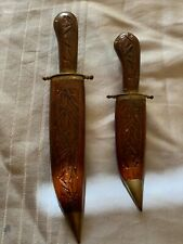 Lot: 2 Hand-carved Vintage Knife / Dagger. Wooden Sheath Brass Accents India