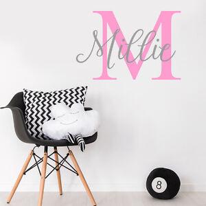 Custom Girls Name Nursery Wall Sticker Wall Decal Kids Baby Bedroom Initial