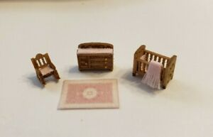 """Dollhouse Miniature 1:144 """"ASSEMBLED""""  Victorian Nursery Room Furniture with Rug"""
