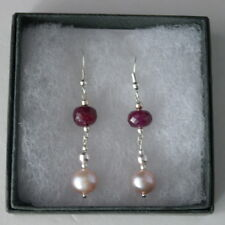 Beautiful Earrings With Faceted Indian Ruby 4.8 Grams 3.5 Cm. Long +Silver Hooks