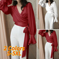 Women V Neck Long Sleeve Blouse Tops Silky Front Knot Club Shirt Party Plus Size