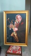 Oil painting on canvas framed signed.Portrait Dizzy Gillespie&Stanley Tarrentino