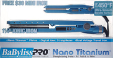 BABYLISS PRO NANO TITANIUM 450 LED 1.25 BLUE FREE MINI TRAVEL FLAT IRON SET