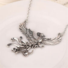 Women Fashion Antique Silver Phoenix Charms Necklace Vintage Bird Jewelry