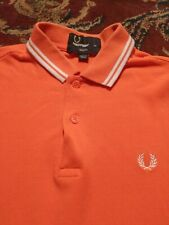 FRED PERRY Men's Polo Style 100% Cotton XS Xtra Small ORANGE SS Shirt SLIM FIT
