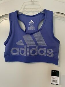 NWT Adidas Sports Bra Girls Size XL (16) Blue