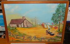 MARY POLIS ANDERSON COUNTRY CHICKEN FARM ORIGINAL OIL ON CANVAS FOLK PAINTING