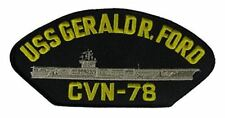 USS GERALD R. FORD CVN-78 Patch - Gold and Silver on Black Background - Veteran