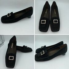 🌟Paco Herrero Size 6.5 40 Black Suede Buckle Loafers Flats Pumps Shoes Womens