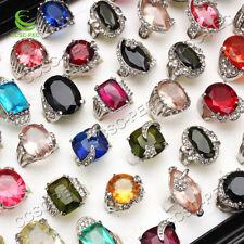 Wholesale Jewelry Lots 5pcs cristal strass plaqué argent anneaux livraison gratuite