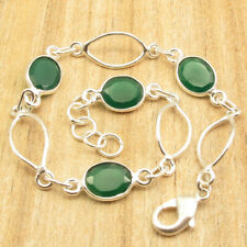 """925 Silver Plated Oval Facetted Green Onyx 4 Gemstone Clasp Bracelet 7.9"""""""