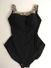 Roxanne Womens Swimsuit Bra Sized 12/34 D Black & Gold Geometric Trim One Piece