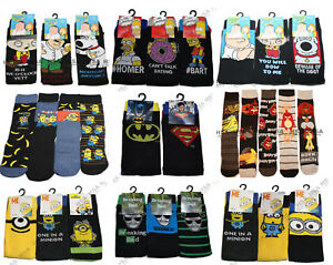 Mens official Novelty Character Cartoon Socks,Tv theme,Adults,Fathers day Gift
