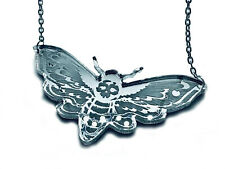 - Necklace Silver Plated Curiology -Mirror Deaths Head Moth
