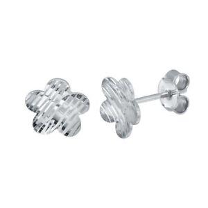 Argent Sterling Diamant Coupe Fleur Boucles D'Oreilles