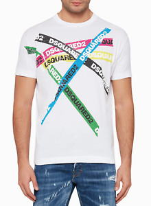 Dsquared2 Coloured Logo Tape Men's T-Shirt in WHITE Crew Neck BNWT Limited