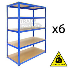 6 x 120CM WIDE HEAVY DUTY METAL WAREHOUSE RACKING GARAGE SALON SHELVING STORAGE