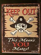 Mantener fuera amigo signo de estaño Pirata Divertido Cartel Metal Pared Decoración Náutica pub
