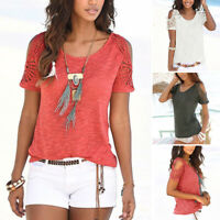 Summer Women V Neck T-shirt Loose Casual Lace Crochet Short Sleeve Tops Blouse