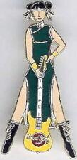 Hard Rock Cafe TAIPEI 1999 Chinese Waitress GREEN Dress YELLOW Guitar PIN #9599
