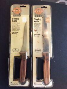 2 Regent Sheffield Laser 3500 Stainless Steel/Wood Handle Serrated Carving Knife