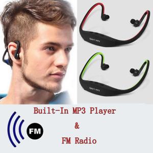 Wireless USB Sport MP3 Music Stereo Earphones Microphone+Micro TF Card Slot