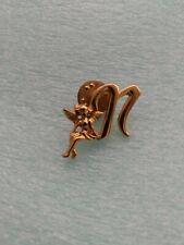 "Capital ""N"" Monogram Cherub Angel Gold Tone Pin Brooch"