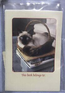 Bookplates- Cat On Books