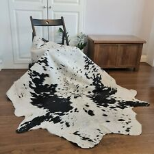 Cow hide, hand crafted soft hair-on Animal skin real leather rug - Black / White