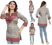 Women Indian Short Kurti  3/4 Sleeeves Tunic Top Kurta Shirt Dress MI 522 MAROON