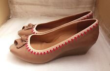 Clarks Ladies Tan Tassel Peep Toe Wedge Heel Leather Shoes - UK 6D