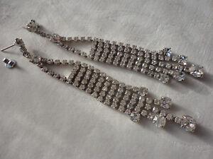 Silver-plated crystal 5 strand chandelier 12 gram 10.5 cm drop pierced earrings