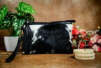 Real Cowhide Leather Wristlet Cowhide Hair on Pouch Black and White Clutch Gift