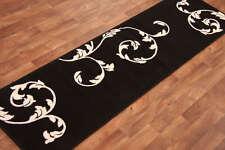 Narrow Long Short Modern Black Ivory Motif Floral Quality Hall Runner Rugs Sale