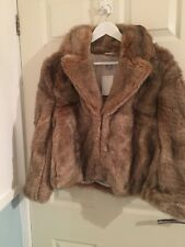 H&M FAUX FUR JACKET SHORT COAT LIGHT BROWN SIZE 14 NEW WITH TAGS