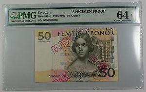 1996-2003 Sweden 50 Kronor Note Pick #62sp PMG 64 C UNC Specimen Proof Details