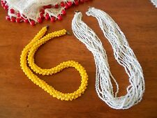 LOT OF 2 X VINTAGE ART DECO GLASS BEAD NECKLACES WHITE & YELLOW
