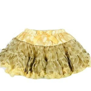 Disney Parks Girl Yellow Satin Tulle Glitter Roses Bow Belle Tutu Skirt XL 14/16