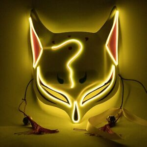 Halloween Clubbing Lighted Kitsune Fox LED Mask Costume Rave Cosplay EDC Party