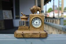 ANTIQUE ART NOUVEAU ORNATE FIGURAL INKWELLS BUFFALO WITH CLOCK AND PENCIL HOLDER